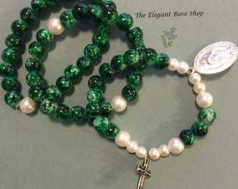 Beautiful, Green Rosary Stretch Bracelet