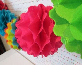 Tissue Balls Tissue Paper Pom Pom Honeycomb Balls Rainbow Party Poms Birthday Party Pom Pom Decoration Hanging Pom Poms Table Backdrop
