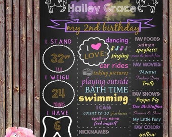 Digital Unicorn Birthday Chalkboard   Unicorn Theme   Birthday Stat Board   First Birthday