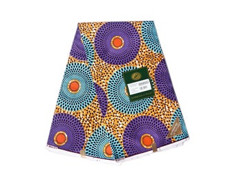 Sold by the yard quality/ Blue Purple Gold / African Fabric / African Print/