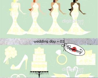 Wedding Day 02: Clip Art Pack (300 dpi transparent png) Wedding Bride Bridal Shower Dress Wedding Cake Bouquet