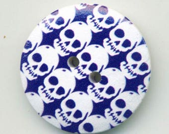 Fancy purple and white skulls button