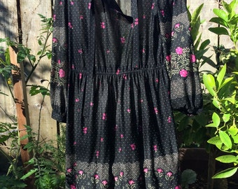 Sheer black floral print dress