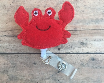 Crab Badge Reel - Crab Badge Clip - Crab - Summer Badge Clip - Id holder - Retractable Badge Holder - Name Badge Holder - Nurse Badge Reel