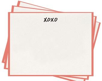 Letterpress 'XOXO' Flat Note Cards - Set of 8