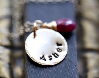 Hand Stamped Birthstone Necklace, GOLD Personalized Necklace with Name,  Mothers Necklace, Mom, Name Necklace with birthstone