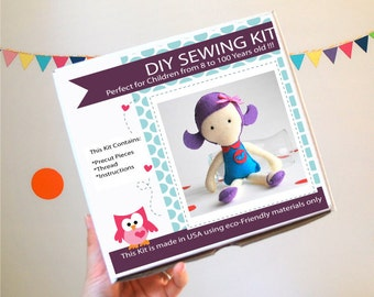 Doll Sewing Kit, Felt Kids' Crafts, Felt Sewing Kit in a Box, 8+ years old craft, No need sewing machine A820