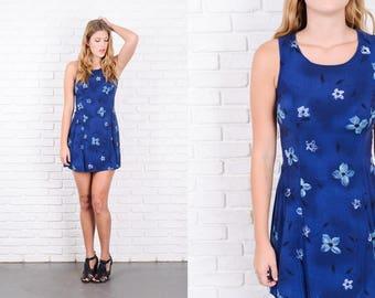 Vintage 80s 90s Blue Mini Dress Floral Print Sleeveless Small S 9897