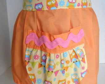 Apron, Half Apron, Owl Apron, Pocket Apron, Craft Apron, Party Apron, Cotton Apron, Orange Apron, Kids Apron, Extra Long Ties