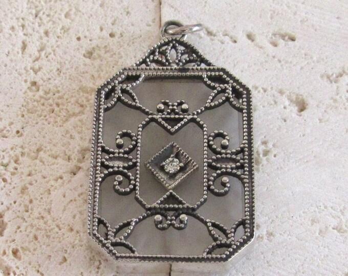 Filigree Camphor Glass Pendant, Filigree Pendant, Sterling Silver Pendant, Sterling Silver Filigree Pendant, Vintage Filigree Pendant