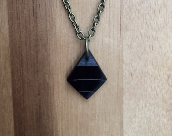 Vinyl Record Geometric Elegant Minimal Necklace Handmade Recycled