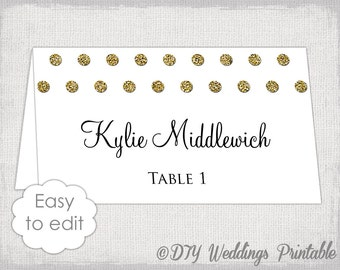 "Gold wedding place card template ""Polka"" dot DIY name cards Glitter place card printable placecards Word /Jpg digital download Avery 5302"
