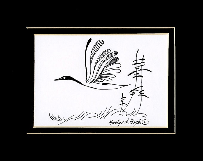 ORIGINAL INK DRAWING; Canada goose, Canadian art, nature, art, wall art, 8 x 10 inch double mat, wall art, wings, feathers,