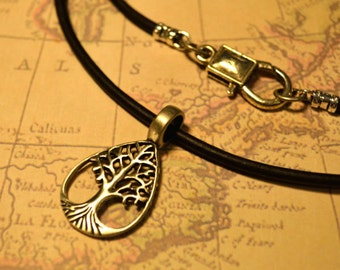 Free Shipping, Leather Necklace,Tree of Life, Yoga, Mens Necklace, Mens Jewelry, Mens Gift, Pendant, Distresed Cord