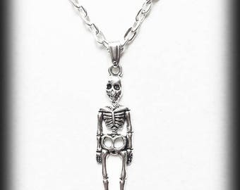 Skeleton Charm Necklace, Silver Skeleton Pendant, Alternative Jewelry, Handmade Necklace, Halloween Jewelry, Gothic Jewelry, Creepy Cute