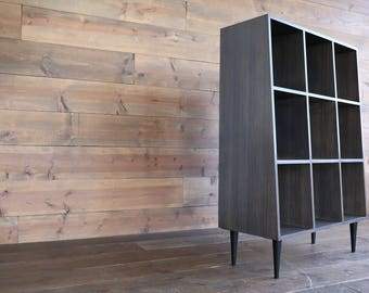 BUILT TO ORDER / Jax Exotic Zebrawood Vinyl Storage Solution   Holds Up To  500 Records