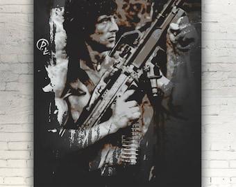 "Rambo - CANVAS - 16""x12"" - artwork print on cotton canvas - alternative movie poster 1982 First Blood John Sylvester Stallone"
