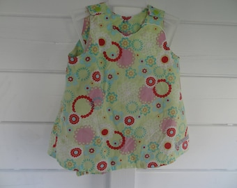 All cotton multicolored 6/9 months, bloomers and trapeze dress