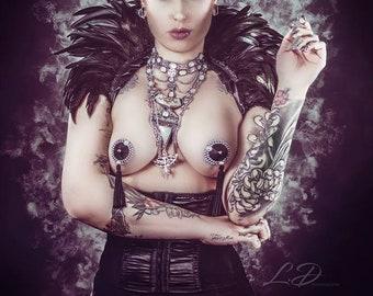Silver chains pentagram Spiky Cleopatra bib necklace