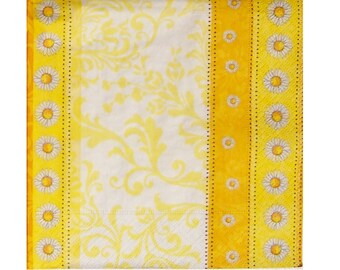 Set of 3 napkins PLA166 daisies yellow orange