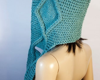 Ready to ship - Hooded Scarf, Scoodie Scarf, HandMade knit scoodie by LoveKnittings