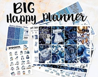 NewRELEASE Blue Rose set kit weekly stickers - for BIG Happy Planner - floral flowers girls fashion summer