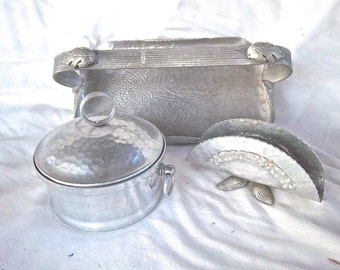 Vintage Hammered Aluminum Serving Indoor Outdoor Picnic Serving Set of Three Home and Living Vintage Serving Vintage Picnic Supply Set