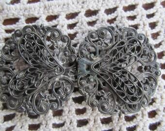 1800s Victorian Antique Shoe Buckles Silver Filigree Victorian Belt Buckle Brooch Sweater Guards Antique Buckles Victorian Accessories