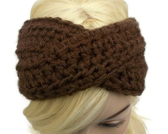 Turban Headband, Crochet Headband, Brown Headband, Winter Headband, Ear Warmer Headband, Womens Headband, Knit Turban Headband
