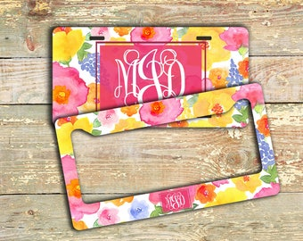 Pink floral monogrammed license plate or cover, Pink yellow blue flowers, Personalized gift For Her, Pink car tag, Pretty car decor (1787)