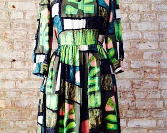 Larry Aldrich 1950's vintage silk tropical one of a kind print fabric button swing dress amazonian Rare!No Pin No Posts