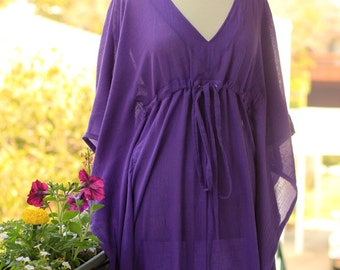 Kaftan Maxi Dress - Beach Cover Up Caftan in Purple Cotton Gauze - Lots of Colors