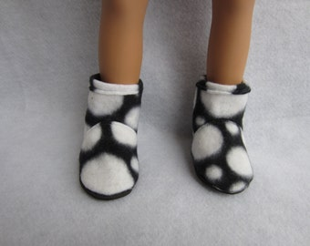 18 in doll boots, fleece boots. Handmade doll shoes, 18 in doll footwear, black and white boots
