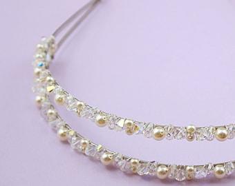 Wedding hair accessories Bridal headband Bridal tiara  head piece Bridesmaids headpiece Prom Flower girl headband  Swarovski pearls crystals
