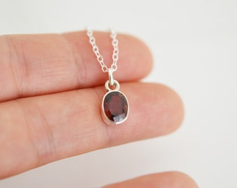Garnet Necklace, Tiny Garnet Necklace, Bridesmaid Gift, Bezel Set Garnet, Pendent Necklace, Everyday Necklace, Silver Necklace, (0097N)