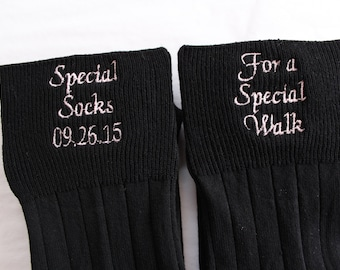 Best Father of Bride Gift. BLACK Special Socks Special Walk Socks Gift. Thoughtful Dad Wedding Gift.  Embroidered Wedding Socks. F23