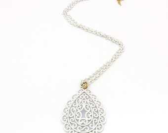 Trifari Necklace | Teardrop Pendant | Trifari Pendant | Teardrop Necklace | White Enamel Pendant | Crown Trifari | Long Boho Necklace