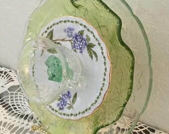 Glass Garden Plate, Yard Art, Glass Garden Flower, Sun Catcher, Flower Garden Art, 3D Glass Flower Dish, Glass Bunny
