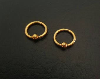 "8mm 20g 18g 16g 14g 5/16"" Small Gold Captive Bead Ring Nostril Septum Daith Helix Tragus Cartilage Ring Titanium IP Stainless Steel"