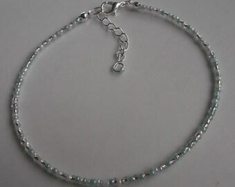 White and green beaded anklet, ankle bracelet, beaded anklet, beach anklet, beach jewellery, seed bead anklet, boho anklet, boho jewellery