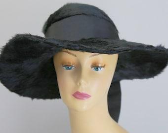 Antique Edwardian large black long mohair fur hat wide brim