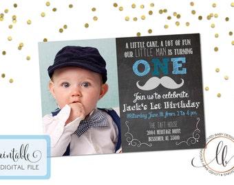 Little Man Chalkboard Invitation - Little Man Invitation - Mustache Invitation - Little Man First Birthday - Little Man Birthday - Printable