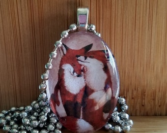 Loving Foxes  Glass Tile Pendant