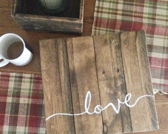 Small reclaimed wood 'Love' sign