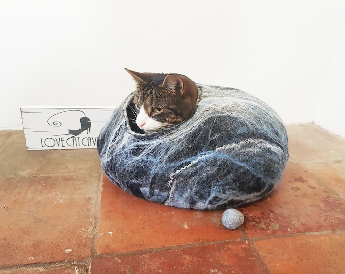 Cat Bed / Cat Cave / Cat House / Cat nap cocoon / Cat lover gift Black White Blue marble effect