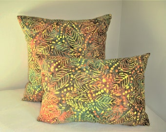 Green Leaves Pillow Cover Dyed Batik Gold Yellow Orange Dots Nature Tropical Boho Bohemian