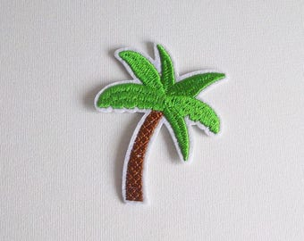 Palm tree iron on patch, Tropical patch, Iron on palm tree, Palm tree patch, Coconut tree iron on, Palm tree applique embroidered patch