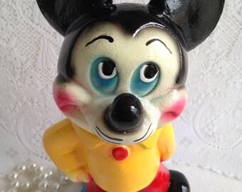 1940's Chalkware Carnival prize ~ mouse piggy bank~ pristine condition ~