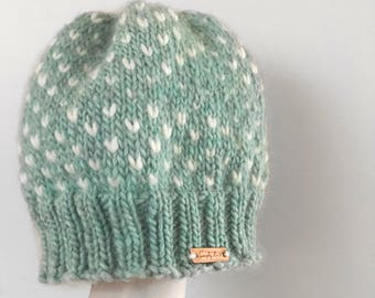 Teen handmade knit hat, knitted toque, knitted beanie, pom pom, custom colours *THE HARPER*