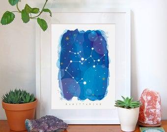 Sagittarius Star Sign, Sagittarius Zodiac Art Print, Astrology Gift, Sagittarius Gifts, Horoscope Art, Constellation Poster, Decor, A4, A3
